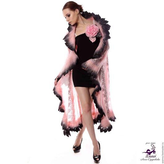 """Верхняя одежда ручной работы. Ярмарка Мастеров - ручная работа. Купить Пальто-накидка """"Розовые грезы"""" ручной работы в любом размере, длине. Handmade."""