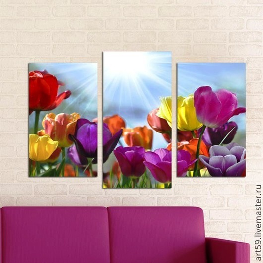 """Картины цветов ручной работы. Ярмарка Мастеров - ручная работа. Купить Триптих """"Разноцветные тюльпаны"""". Handmade. Разноцветный, тюльпан"""