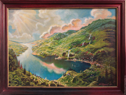 Пейзаж ручной работы. Ярмарка Мастеров - ручная работа. Купить Альпийский рассвет Alpine dawn. Handmade. Мятный, красивый подарок