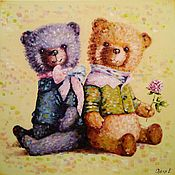 Pictures handmade. Livemaster - original item Oil painting Favorite care bear. Handmade.