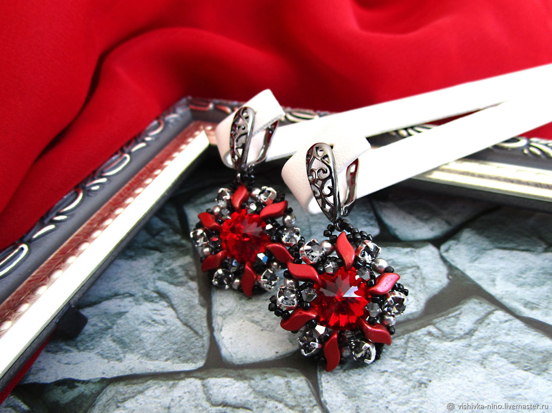 Red earrings Dance of fire, Earrings, Nizhny Novgorod,  Фото №1