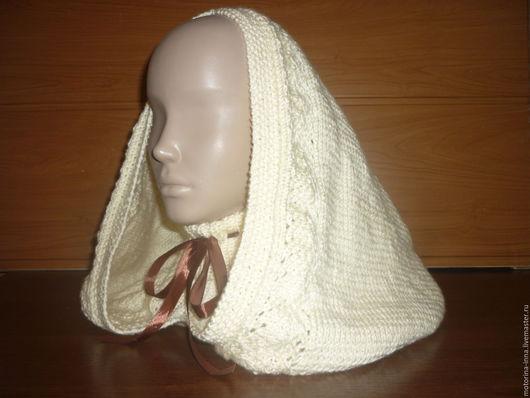 красивый женский шарф, женский шарф связанный спицами, вязаный головной убор, осенний вязаный шарф, вязаный шарф капюшон, женский вязаный головной убор, вязаный головной убор женский, головной убор