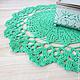 Текстиль, ковры ручной работы. Ярмарка Мастеров - ручная работа. Купить салфетка ажурная вязаная мятно-зеленая 25 см подарок женщине. Handmade.