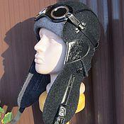 Аксессуары ручной работы. Ярмарка Мастеров - ручная работа Шлем летный войлочный черный Пилот. Handmade.