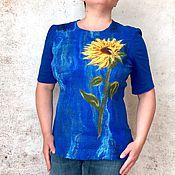 Одежда ручной работы. Ярмарка Мастеров - ручная работа Подсолнух Блузка Валяная Трикотаж Джерси. Handmade.
