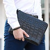 Сумки и аксессуары handmade. Livemaster - original item Folder crocodile leather zipper men`s clutch bag. Handmade.