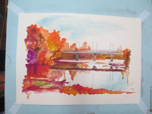 Мост через Аркарку. Осень. Пейзаж акварелью ручной работы.