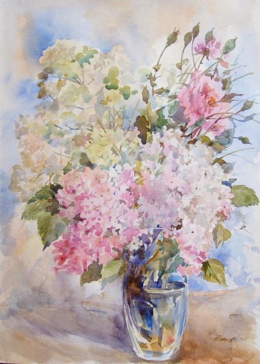 Картины цветов ручной работы. Ярмарка Мастеров - ручная работа. Купить Гортензия и розы. Handmade. Розовый, букет цветов