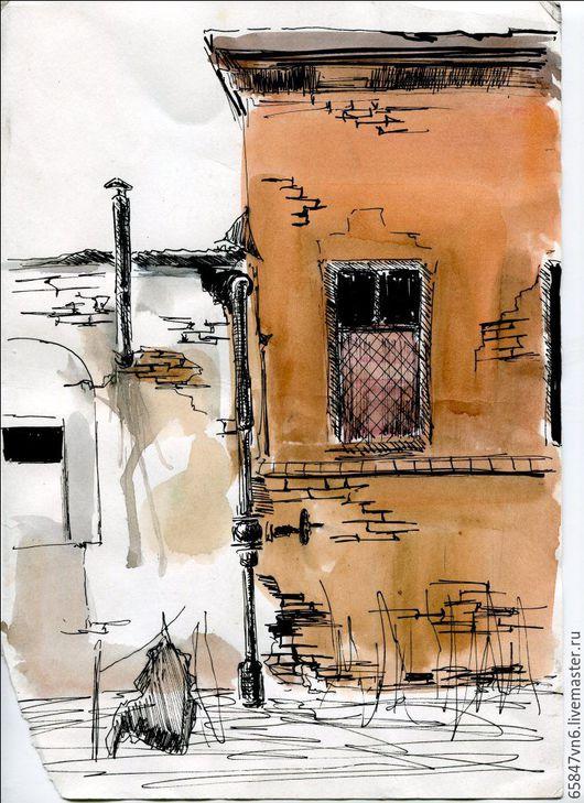 Город ручной работы. Ярмарка Мастеров - ручная работа. Купить Любимый город - рисунок акварелью. Handmade. Оранжевый, старый город