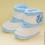 Работы для детей, handmade. Livemaster - original item Boots knitted plush, booties boots, color blue and white. Handmade.