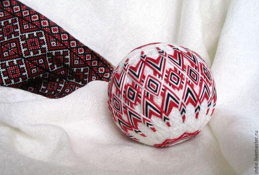 Темари ручной работы. Ярмарка Мастеров - ручная работа. Купить Украинский орнамент. Handmade. Ярко-красный, красный