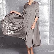 Одежда ручной работы. Ярмарка Мастеров - ручная работа Коричневое вечернее льняное макси миди платье рубашка, длинные рукавы. Handmade.