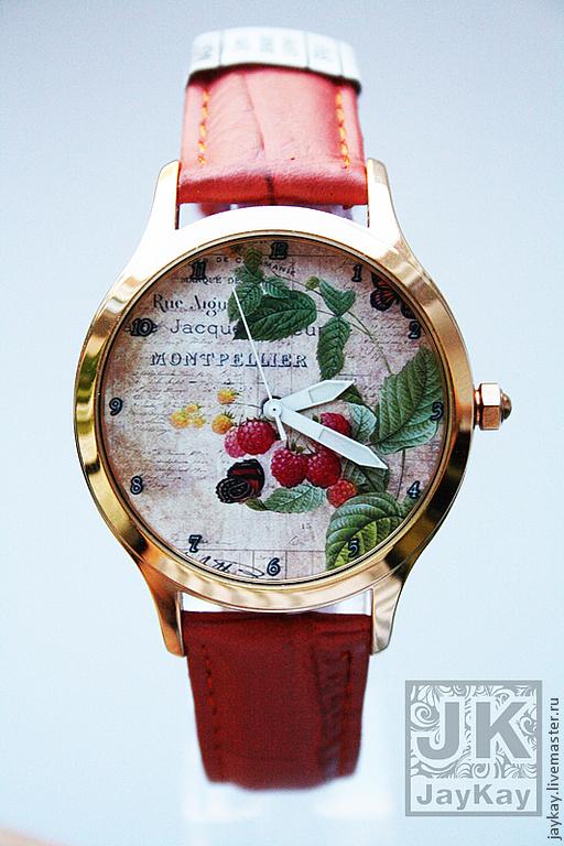 "Часы ручной работы. Ярмарка Мастеров - ручная работа. Купить Часы наручные JK ""Ягодка-малина"". Handmade. Наручные часы"