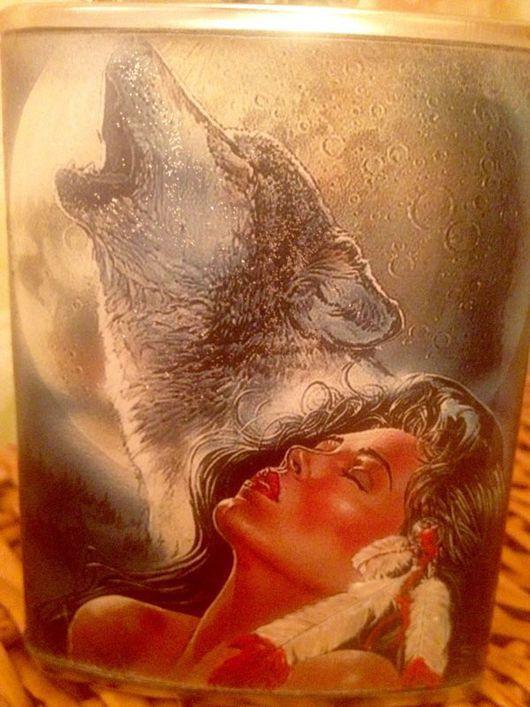 """Подарки для мужчин, ручной работы. Ярмарка Мастеров - ручная работа. Купить Фляжка """"Лунная ночь"""". Handmade. Фляжка, волк"""