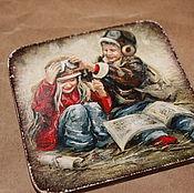"""Сувениры и подарки ручной работы. Ярмарка Мастеров - ручная работа магнит на холодильник, магнит деревянный """"Девочка и мальчик"""". Handmade."""