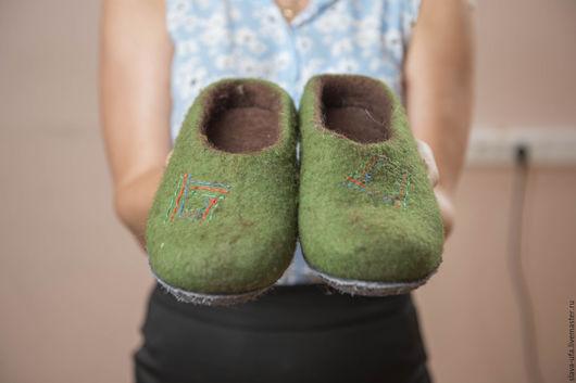 Обувь ручной работы. Ярмарка Мастеров - ручная работа. Купить Тапочки Травяные. Handmade. Комбинированный, натуральная кожа