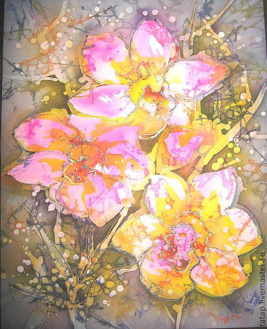 Картины цветов ручной работы. Ярмарка Мастеров - ручная работа. Купить Орхидеи. Handmade. Цветы, орхидеи, букет, Батик, розовый