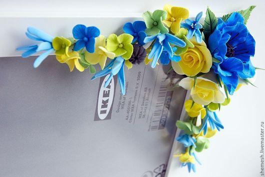 Фоторамки ручной работы. Ярмарка Мастеров - ручная работа. Купить Фоторамка с розами и маками. Handmade. Синий, фотография