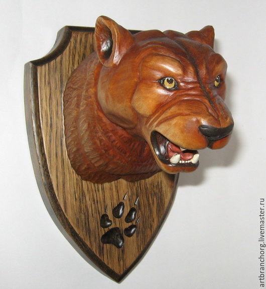 `Ягуар` - трофейный медальон на стену. Ручная работа, резьба по дереву.