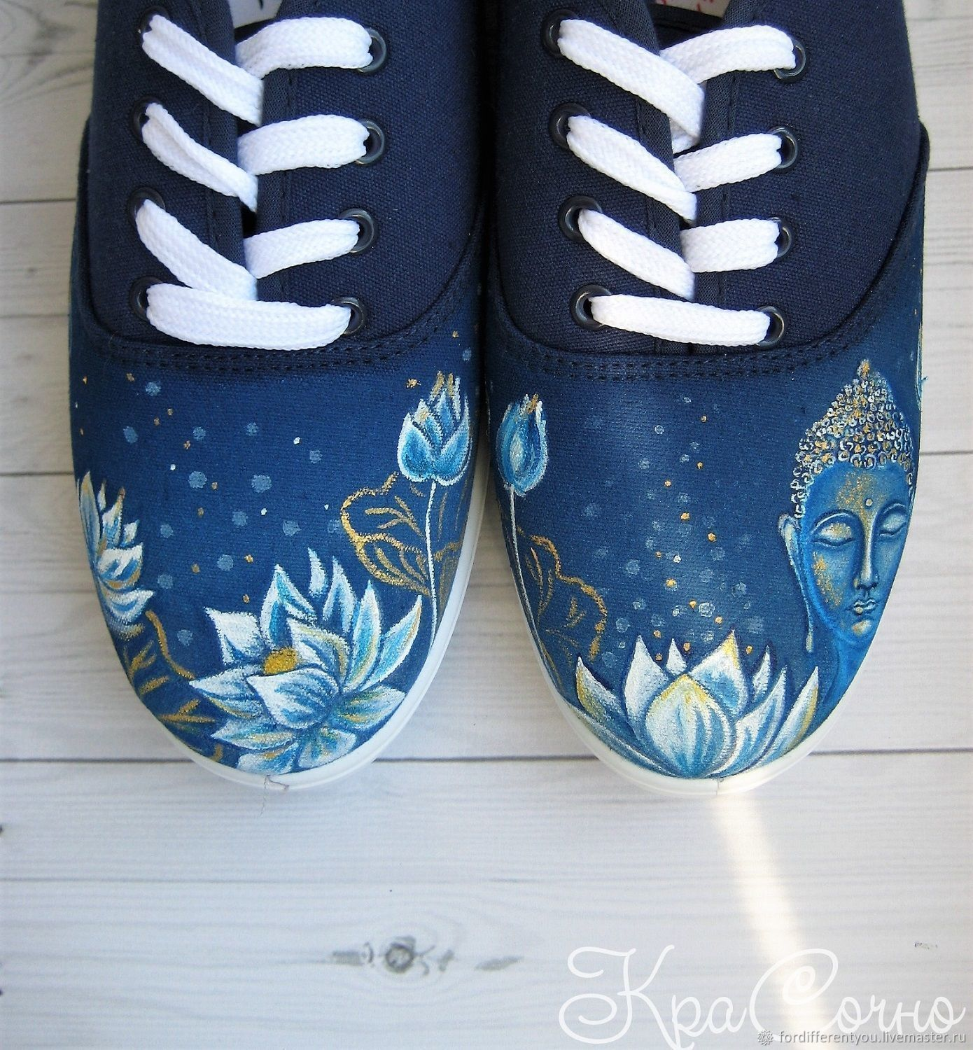 Sneakers with painting,Gold Buddha