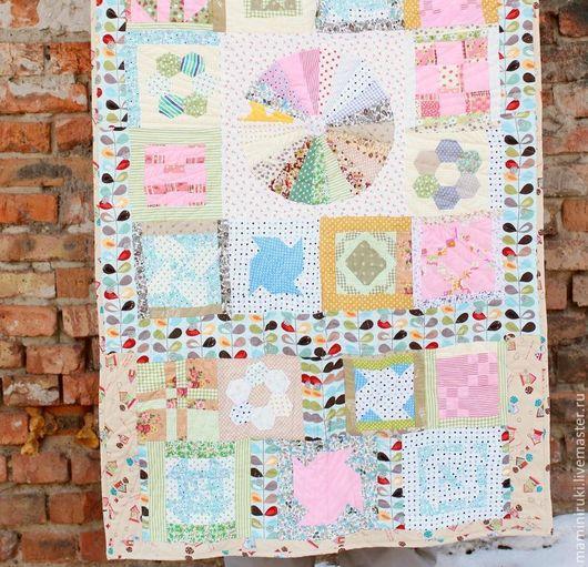 """Текстиль, ковры ручной работы. Ярмарка Мастеров - ручная работа. Купить Покрывало """"Весна.Акварель"""" лоскутное одеяло, плед.. Handmade."""