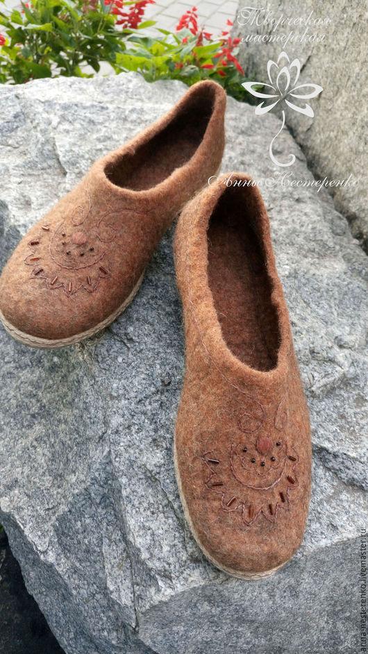 """Обувь ручной работы. Ярмарка Мастеров - ручная работа. Купить Валяные балетки """"Мед и корица"""". Handmade. Мед, обувь из шерсти"""