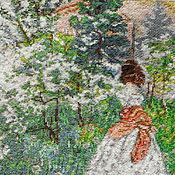 Картины и панно ручной работы. Ярмарка Мастеров - ручная работа Весна, вышитая картина, репродукция Борисова-Мусатова,  девушка, сад. Handmade.