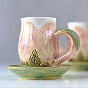 Посуда ручной работы. Ярмарка Мастеров - ручная работа Керамическая чашка с блюдцем Утренняя Роза чайная пара. Handmade.