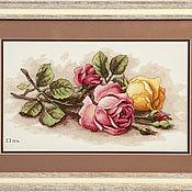 """Картины и панно ручной работы. Ярмарка Мастеров - ручная работа """"Срезанные розы"""". Handmade."""