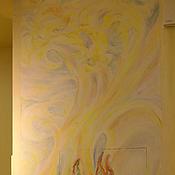 Картины и панно ручной работы. Ярмарка Мастеров - ручная работа Золотые волны-роспись в кухне. Handmade.