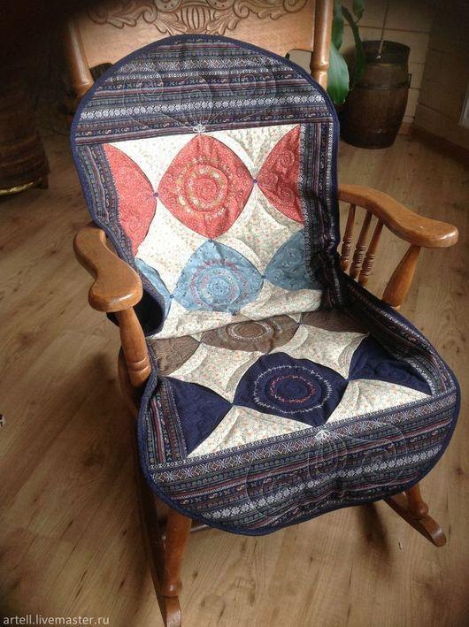 """Текстиль, ковры ручной работы. Ярмарка Мастеров - ручная работа. Купить """"""""Узорчики""""""""для кресла. Handmade. Тёмно-синий, лоскутное шитье"""