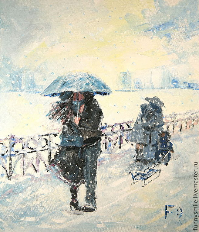 Oil painting on canvas. Umbrella and sleigh, Pictures, Moscow,  Фото №1