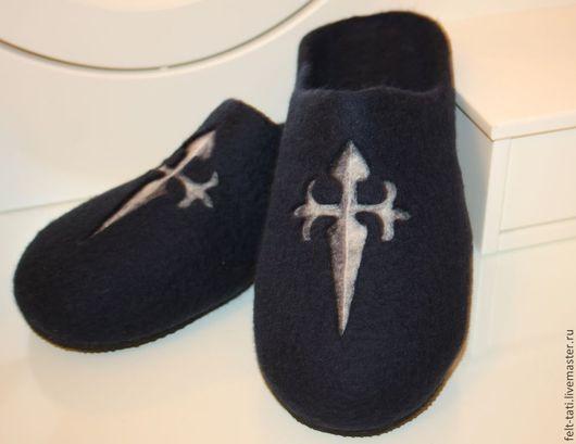 """Обувь ручной работы. Ярмарка Мастеров - ручная работа. Купить Тапочки """"Мальтийский знак!. Handmade. Тёмно-синий, тапочки из шерсти"""