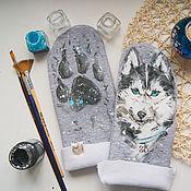 Аксессуары handmade. Livemaster - original item mittens male Husky. Handmade.