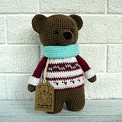 Мягкие игрушки ручной работы. Ярмарка Мастеров - ручная работа Медведь в снуде и жаккардовом свитере. Handmade.