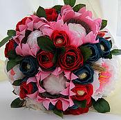 """Цветы и флористика ручной работы. Ярмарка Мастеров - ручная работа """"Зефирное настроение"""" букет из конфет зефира розы розовые подсолнухи. Handmade."""