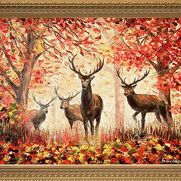 """Картины и панно ручной работы. Ярмарка Мастеров - ручная работа Картина маслом """"Олени в лесу"""". Handmade."""