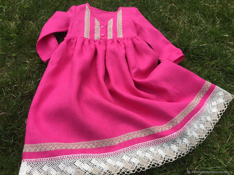Linen dress with lace trim ' Magenta ', Dresses, Ivanovo,  Фото №1