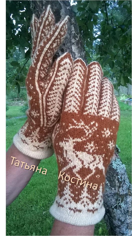 Варежки, митенки, перчатки ручной работы. Ярмарка Мастеров - ручная работа. Купить Мужские перчатки Олень. Handmade. Коричневый, рисунок