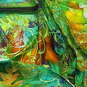 Аксессуары handmade. Livemaster - original item silk batik shawl Bacchus