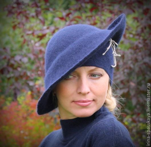 """Шляпы ручной работы. Ярмарка Мастеров - ручная работа. Купить Дамская шляпа """"Ветер перемен"""". Handmade. Тёмно-синий, войлок"""