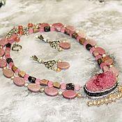 Украшения handmade. Livemaster - original item Necklace & earrings rhodonite Sakura. Handmade.