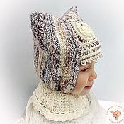 Работы для детей, ручной работы. Ярмарка Мастеров - ручная работа Детская теплая вязаная шапка для девочки Узорная зима. Handmade.