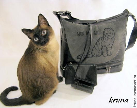 Женские сумки ручной работы. Ярмарка Мастеров - ручная работа. Купить Большая кожаная сумка Шотландская кошка Комбинированная  кожа с замшей. Handmade.