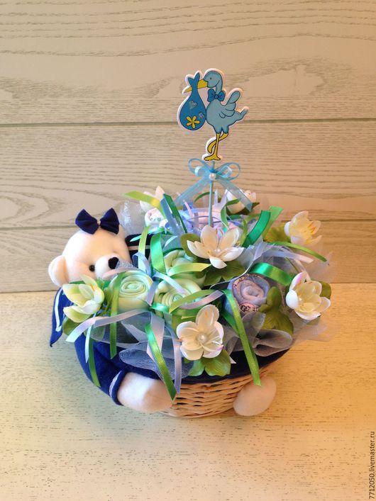 бэби-букет для новорожденного мальчика подарок для новорожденного букет из детских вещей морячок подарок молодой маме подарок на крестины выписка из роддома