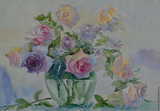 Картины цветов ручной работы. Ярмарка Мастеров - ручная работа. Купить Розы в стеклянной вазе. Handmade. Сиреневый, картина