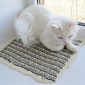 handmade. Livemaster - original item Felted mat bed for a cat or dog made of natural wool.. Handmade.