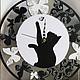 """Часы для дома ручной работы. Часы """"Черно-белая охота"""". Александра Балашова. Ярмарка Мастеров. Кот, стильные часы"""