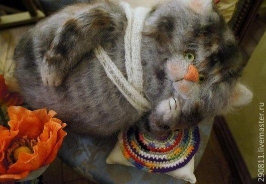 Игрушки животные, ручной работы. Ярмарка Мастеров - ручная работа. Купить кот Декабрь. Handmade. Серый, игрушка ручной работы