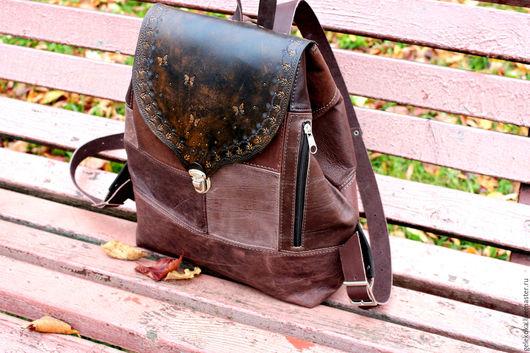 Рюкзаки ручной работы. Ярмарка Мастеров - ручная работа. Купить Рюкзак из натуральной кожи в стиле бохо шоколадно-сиреневый. Handmade.
